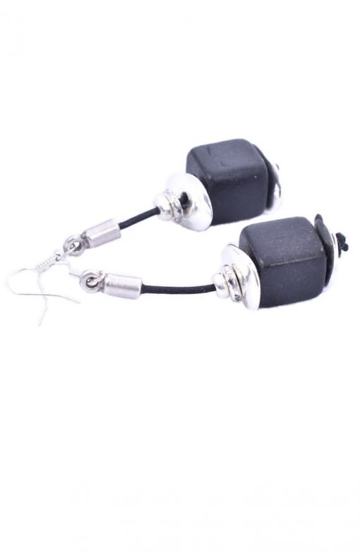 Sterling Silver And Ceramic Cube Earrings