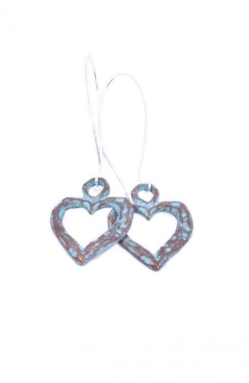 Long Antiqued Heart Earrings