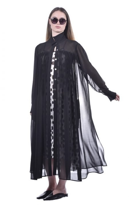 Long Pleated Chiffon Shirt