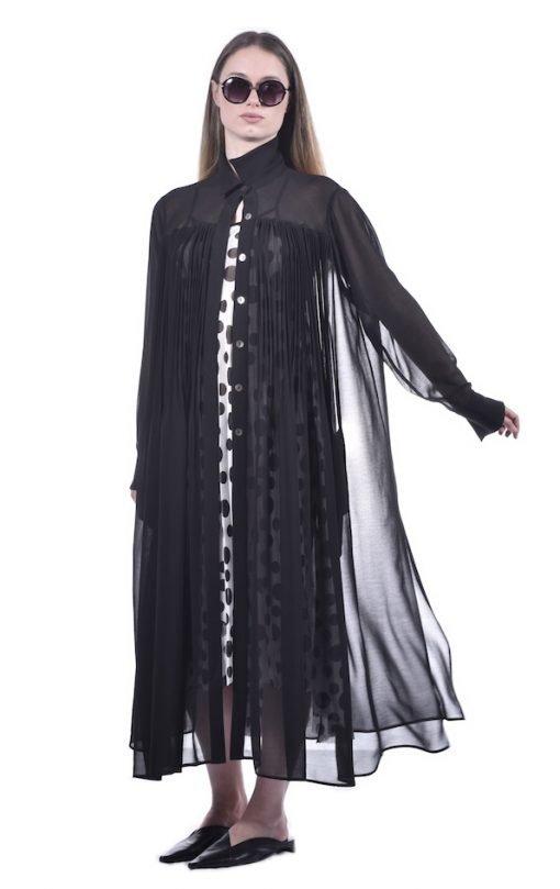 Long Pleated Chiffon Shirt